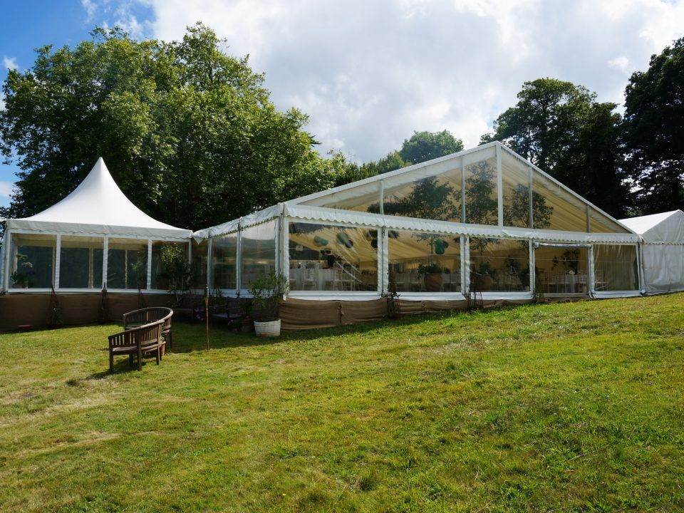 Split level marquee allows for unusual spaces to be used